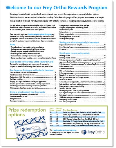 Frey Ortho Rewards guidelines